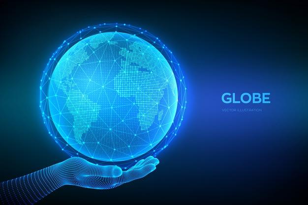 Globus planety ziemi w ręce szkielet. koncepcja punktu i linii na mapie świata dotycząca globalnego połączenia sieciowego.