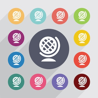Globus, płaski zestaw ikon. okrągłe kolorowe guziki. wektor