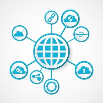 Globus technologii cyfrowej zintegrowany z ikonami