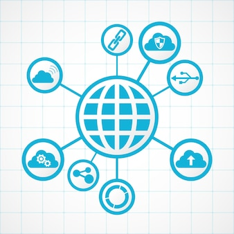 Globus technologii połączeń zintegrowany z cyfrowymi ikonami