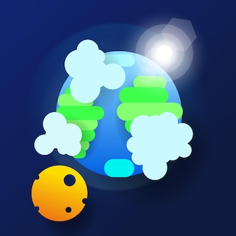 Globus w przestrzeni w stylu papieru. ilustracja wektorowa dla twojego projektu.