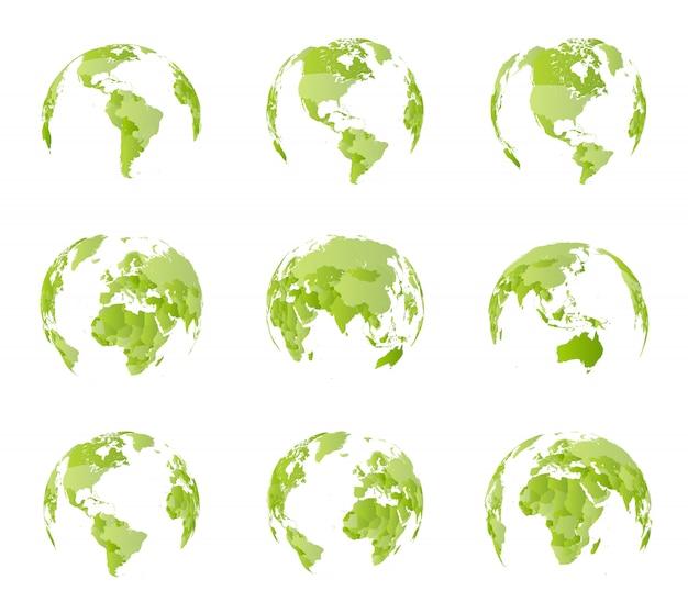 Globus, widok z różnych stron. wszystkie granice kraju na światowej mapie politycznej. półkula wschodnia i zachodnia. wszystkie strony świata