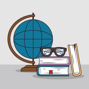 Globus z książkami i okularami
