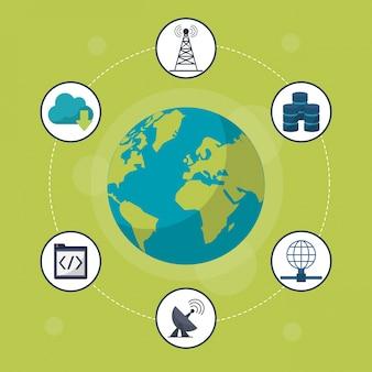 Globus ziemi w bliska i ikony sieci wokół