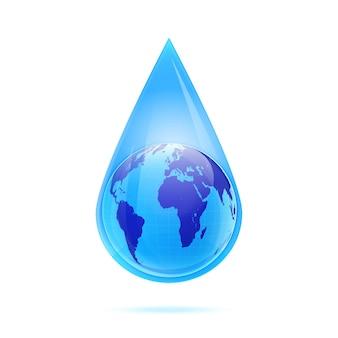 Globus ziemi w kropli wody na białym tle. ilustracja wektorowa.
