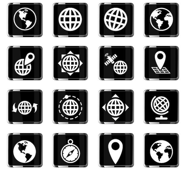 Globusy internetowe ikony do projektowania interfejsu użytkownika