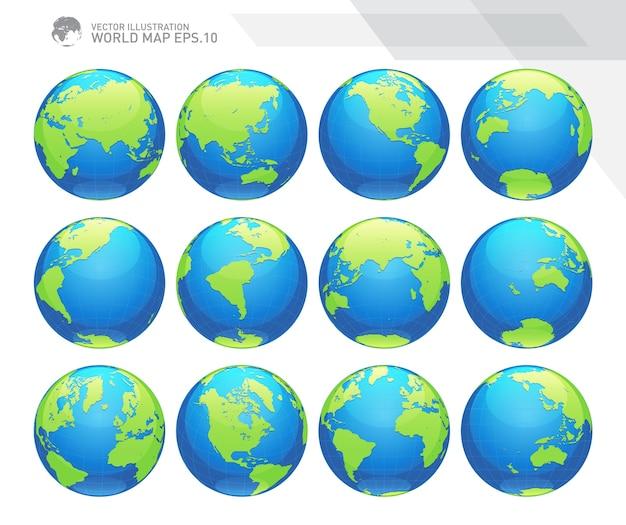 Globusy ukazujące ziemię ze wszystkimi kontynentami