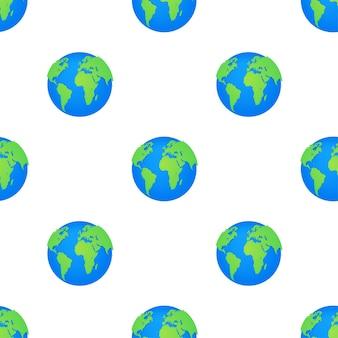 Globusy ziemi wzór na białym tle. płaska planeta ziemia ikona. ilustracja wektorowa.