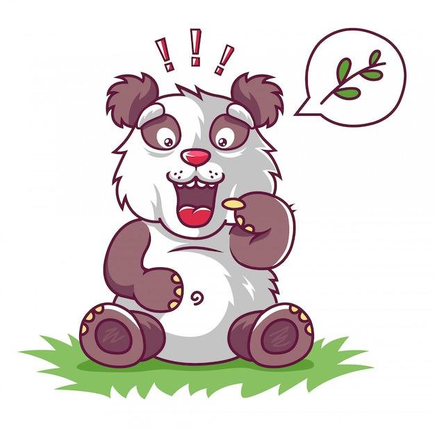 Głodna panda prosi o jedzenie.