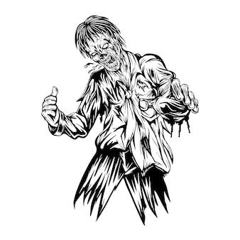 Głodne zombie szukające ofiar w czerni i bieli