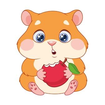 Głodny chomik je jabłko