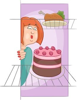 Głodny kobieta na diecie kreskówka