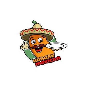 Głodny meksykański wzór logo