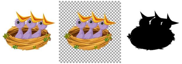 Głodny pisklę czeka na jedzenie w gnieździe