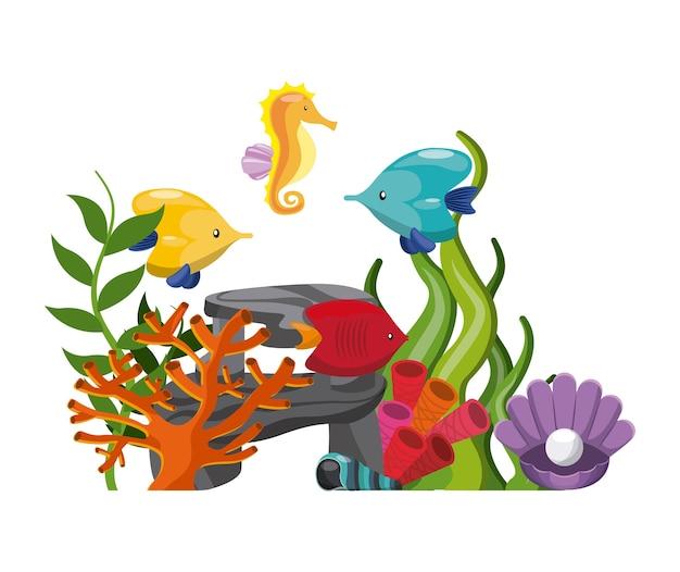 Glonów koralowych ryb ostryg powłoki i ikona konik morski