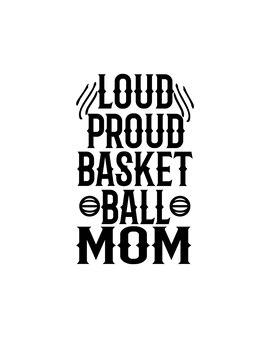 Głośna dumna mama koszykówki na ręcznie rysowane plakat typografii