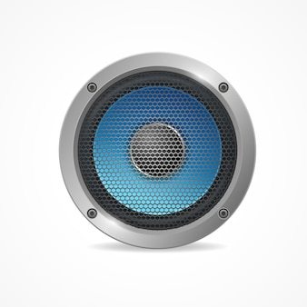Głośnik audio z siatką na białym tle.
