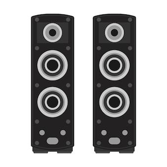 Głośnik basowy z głośnikami stereo. głośność dźwięku urządzenia elektronicznego. głośny system akustyczny