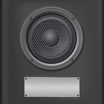 Głośnik dźwiękowy z metalową płytką.