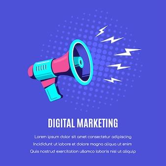 Głośnik lub megafon na niebieskim tle. marketing cyfrowy, koncepcja reklamy.