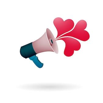 Głośnik mówi o miłości. losowe akty miłości i życzliwości. światowe wakacje altruistyczne.