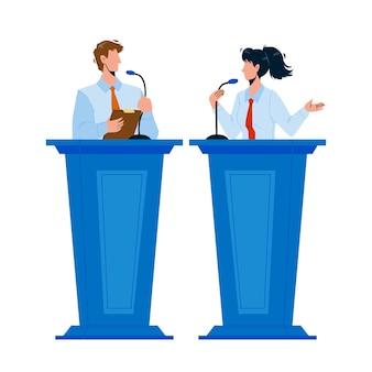 Głośnik omawiający z przeciwnikiem w trybunie wektora. głośnik kobieta i mężczyzna rozmawia w mikrofonie na spotkaniu lub konferencji. postacie, biznesmen i kobieta interesu, płaski, rysunek, ilustracja