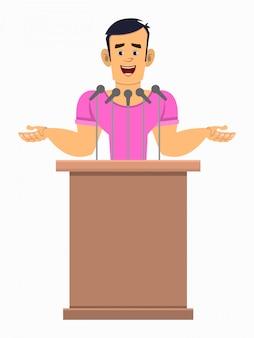 Głośnik postaci z kreskówek silny chłopiec stoi za podium i mówi. płaski postać z kreskówki dla swojego projektu, ruchu lub animacji