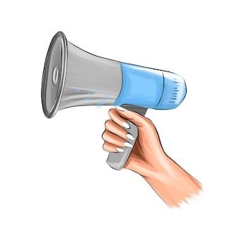 Głośnik w ręku megafon krzyczy z wielokolorowych farb kolorowy rysunek