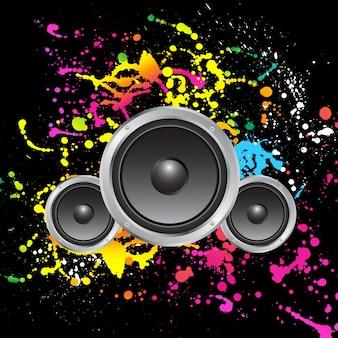 Głośniki na kolorowe tło grunge
