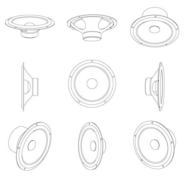 Głośniki samochodowe vector - różne widoki, grafika liniowa