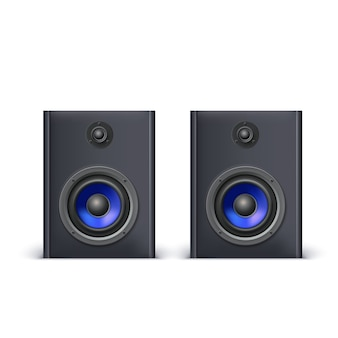 Głośniki z niebieskimi dyfuzorami