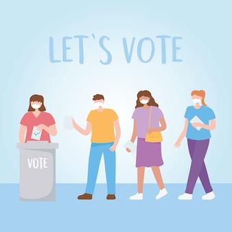 Głosowanie i wybory, ludzie z maskami w kolejce, kobieta wkłada kartę do urny