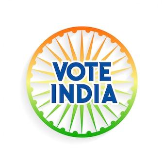 Głosowanie indie charkra w kolorach flagi indii