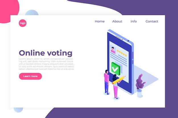 Głosowanie online, głosowanie elektroniczne, izometryczny szablon systemu wyborczego internetowego.