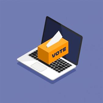 Głosowanie online w stylu izometrycznym. wkładanie karty do głosowania do urny, która stoi na wyświetlaczu laptopa. ilustracja wektorowa na białym tle.