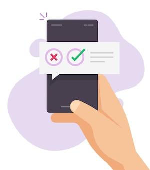Głosowanie w ankiecie z powiadomieniem o wiadomościach quizu cyfrowego na czacie na telefonie komórkowym online
