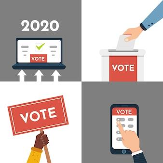 Głosowanie zestaw ilustracji. ręka stawia do głosowania, głosowanie online, głosowanie elektroniczne, wyborcy podejmują decyzje.