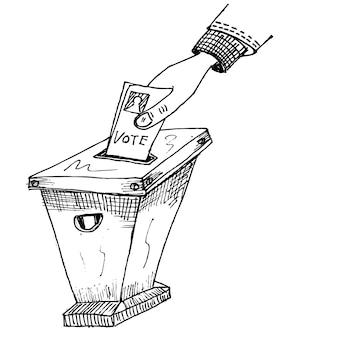 Głosuj, doodle szkic