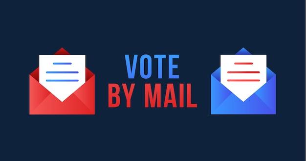 """Głosuj pocztą. koncepcja """"zachowaj bezpieczeństwo"""" wybory prezydenckie w stanach zjednoczonych w 2020 r. szablon na tło, baner, karty, plakat z napisem tekstowym."""