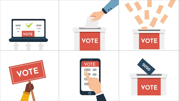 Głosuj wektor zestaw ilustracji. ręka stawia do głosowania, głosowanie online, głosowanie elektroniczne, wyborcy podejmują decyzje.