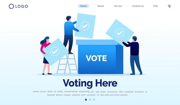 Głosujący tutaj lądowanie strony strony internetowej ilustracyjnego wektorowego szablon