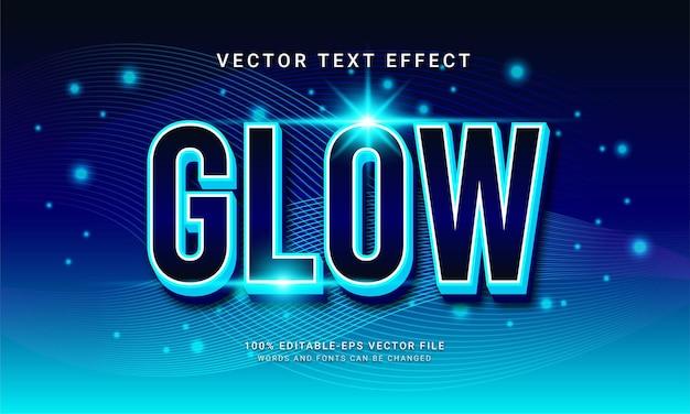 Glow edytowalny efekt tekstowy z niebieskim kolorem