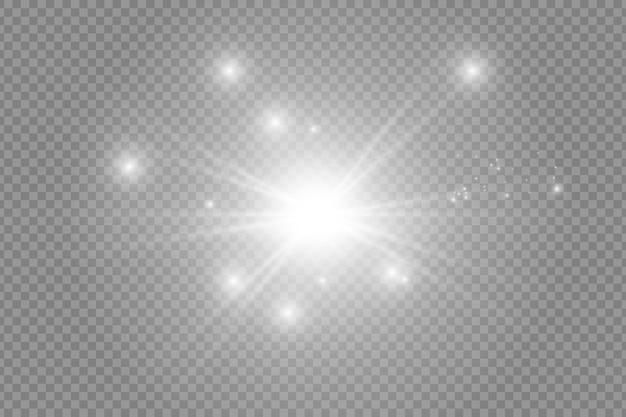 Glow izolowany biały przezroczysty zestaw efektów świetlnych, flara obiektywu, eksplozja, brokat, linia, błysk słońca, iskra i gwiazdy. projekt elementu streszczenie efekt specjalny. rozświetl promień błyskawicą