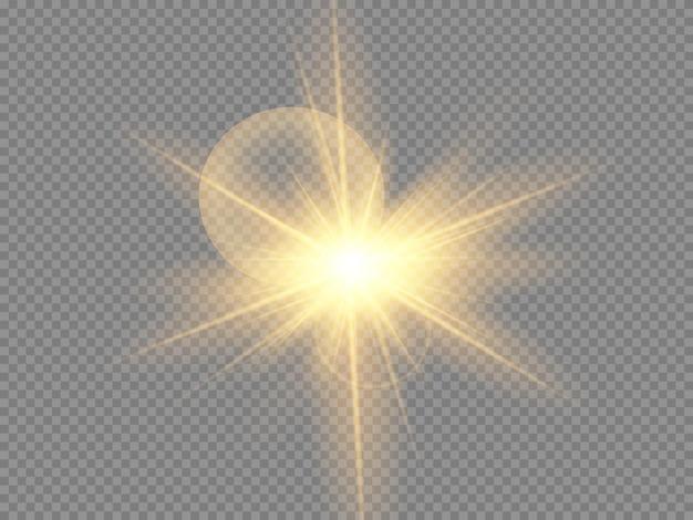 Glow izolowany biały przezroczysty zestaw efektów świetlnych, flara obiektywu, eksplozja, brokat, linia, lampa błyskowa, iskra i gwiazdy.