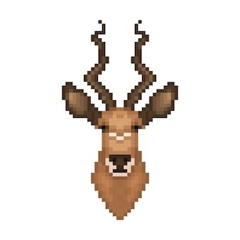 Głowa antylopy w stylu pixel art.