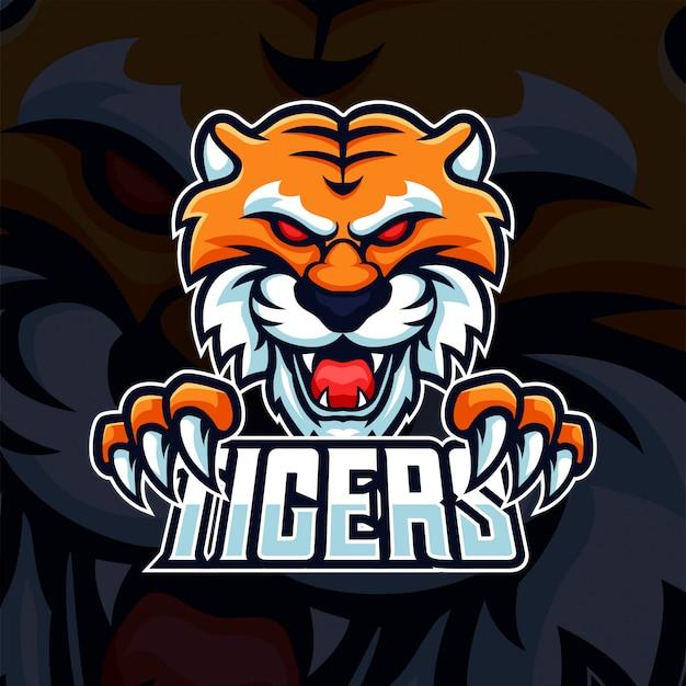 Głowa bestii tygrysa z logo e-sportowej gry maskotki pazur