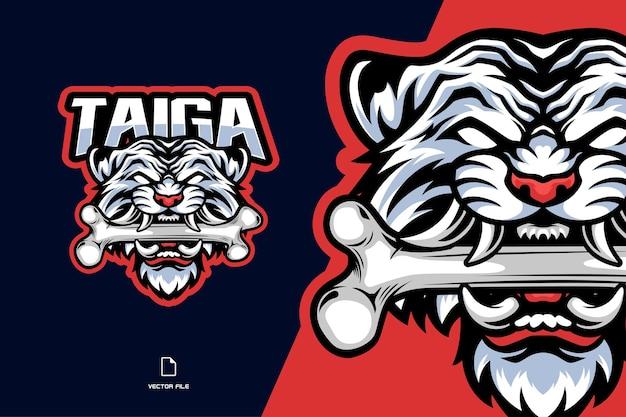 Głowa białego tygrysa z logo gry e-sportowej maskotki w postaci kości