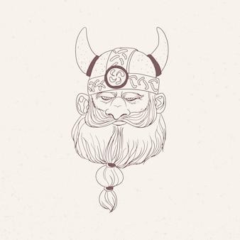 Głowa brodatego wikinga lub nordyckiego wojownika w hełmie rogatej ręki narysowanej z konturami na jasnym tle.
