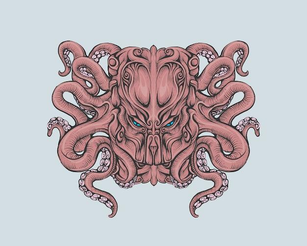 Głowa cthulhu w kolorowym rysunku dłoni
