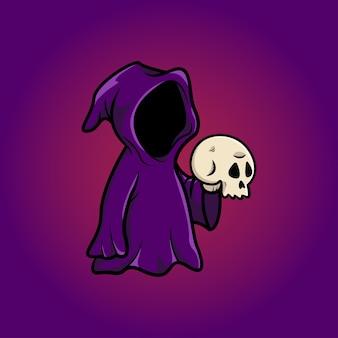 Głowa czaszki czarodzieja na halloween